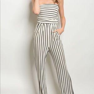 Pants - Ivory Striped Sleeveless Jumpsuit